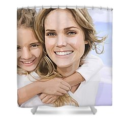 Shower Curtain featuring the painting Mother Daughter Portrait   by Tim Gilliland