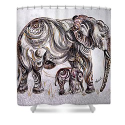 Mother Elephant Shower Curtain