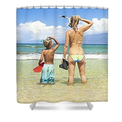 Mother Son Snorkel Shower Curtain by Kicka Witte