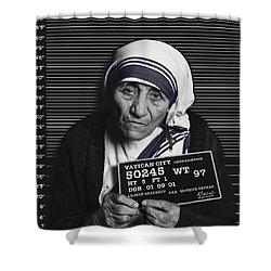 Mother Teresa Mug Shot Shower Curtain by Tony Rubino