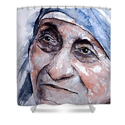 Mother Theresa Watercolor Shower Curtain