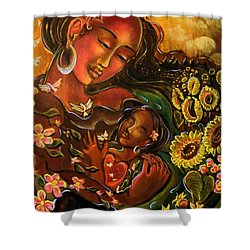 Mothering Myself Shower Curtain by Crystal Charlotte Easton