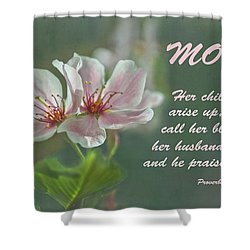 Mothers Day Card For Mom Shower Curtain by Sandi OReilly