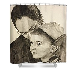 Shower Curtain featuring the painting Mother's Love by Tamir Barkan