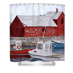 Shower Curtain featuring the painting Motif No 1 by Carol Flagg