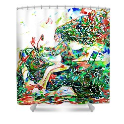 Motor Demon Running Fast Shower Curtain by Fabrizio Cassetta