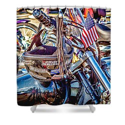 Shower Curtain featuring the photograph Motorcycle Helmet And Flag by Eleanor Abramson