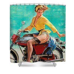 Motorcycle Pinup Girl Shower Curtain