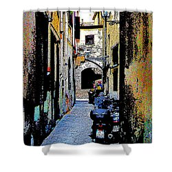 Shower Curtain featuring the digital art Motorcyle In Florence Alley by Jennie Breeze