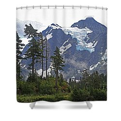 Mount Baker And Fir Trees And Glaciers And Fog Shower Curtain by Tom Janca