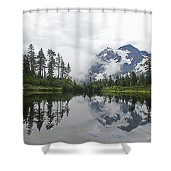 Mount Baker- Lake- Fir Trees And  Fog Shower Curtain by Tom Janca