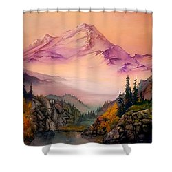 Mount Baker Morning Shower Curtain by Sherry Shipley