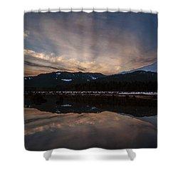 Mount Baker Sunset Shower Curtain by Mike Reid