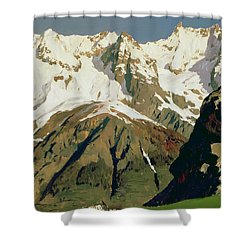 Mount Blanc Mountains Shower Curtain by Isaak Ilyich Levitan