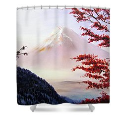 Mount Fuji Shower Curtain by Alexandra Louie
