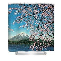 Mount Fuji Cherry Blossoms Shower Curtain by Sheena Kohlmeyer