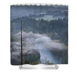 Mount Hood And Sandy River At Sunrise Shower Curtain by Jit Lim