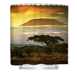 Mount Kilimanjaro Savanna In Amboseli Kenya Shower Curtain