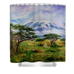 Shower Curtain featuring the painting Mount Kilimanjaro Tanzania by Sher Nasser