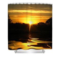 Mount Lassen Sunrise Gold Shower Curtain by Joyce Dickens