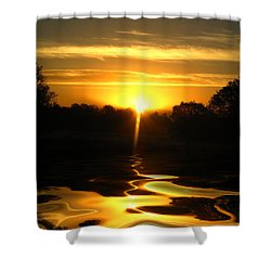 Mount Lassen Sunrise Gold Shower Curtain