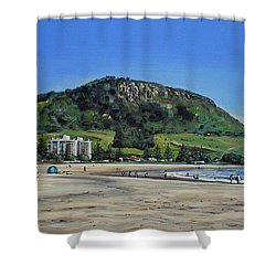 Mount Maunganui Beach 151209 Shower Curtain by Sylvia Kula