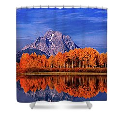 Mount Moran And Fall Color Grand Tetons Shower Curtain by Dave Welling
