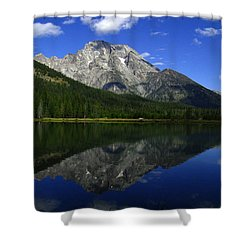 Mount Moran And String Lake Shower Curtain by Raymond Salani III