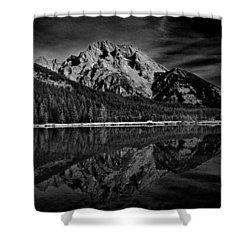 Mount Moran In Black And White Shower Curtain by Raymond Salani III