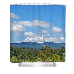 Mount Rainier As Viewed From The West Shower Curtain by Connie Fox