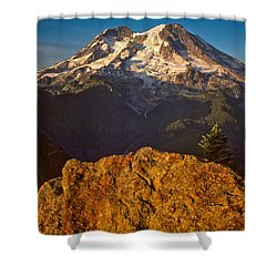 Shower Curtain featuring the photograph Mount Rainier At Sunset With Big Boulders In Foreground by Jeff Goulden