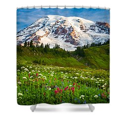 Mount Rainier Flower Meadow Shower Curtain by Inge Johnsson