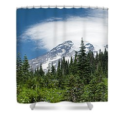 Mount Rainier Forest Shower Curtain