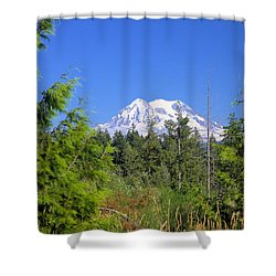 Shower Curtain featuring the photograph Mount Rainier by Gordon Elwell