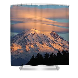 Mount Rainier In November  Shower Curtain
