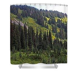 Mount Rainier Ridges And Fir Trees.. Shower Curtain by Tom Janca