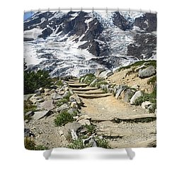 Mount Rainier Trail Shower Curtain