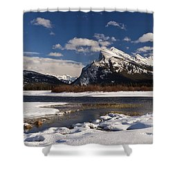 Mount Rundle Shower Curtain by Dee Cresswell
