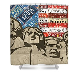 Mount Rushmore Monument Vintage Recycled License Plate Art Shower Curtain by Design Turnpike