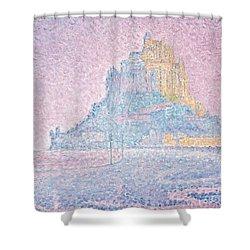 Mount Saint Michel Fog And Sun Shower Curtain by Paul Signac