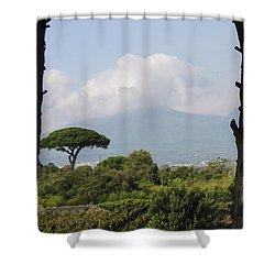 Mount Vesuvius Shower Curtain by Adam Romanowicz