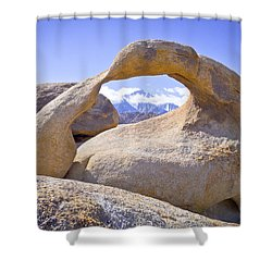 Mount Whitney Framed By The Mobius Arch Shower Curtain by Priya Ghose