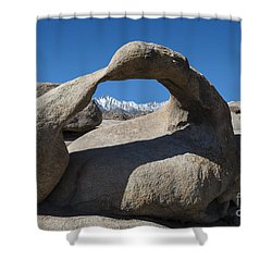 Mount Whitney Through Mobius Arch Shower Curtain by Sandra Bronstein