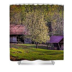Mountain Barns In North Carolina Shower Curtain by Debra and Dave Vanderlaan