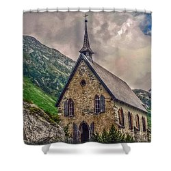 Shower Curtain featuring the photograph Mountain Chapel by Hanny Heim