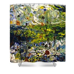 Shower Curtain featuring the painting Mountain Creek by Jacqueline Athmann