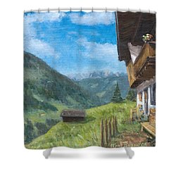 Mountain Farm In Austria Shower Curtain by Marco Busoni