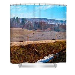 Mountain Farm Panorama Version 2 Shower Curtain