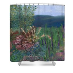 Mountain Garden Shower Curtain by Dana Strotheide