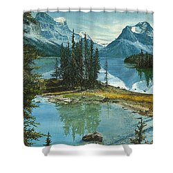 Shower Curtain featuring the painting Mountain Island Sanctuary by Mary Ellen Anderson